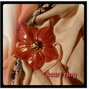 Scarf Clip Porcelain-Like Tropical Red Flower